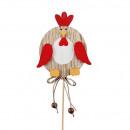 groothandel Woondecoratie: Houten kip Hugo om op te plakken, H8.5cm, naturel